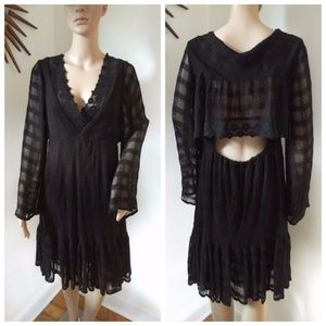 Free People Black Boho Checkered Bell Sleeve Dress